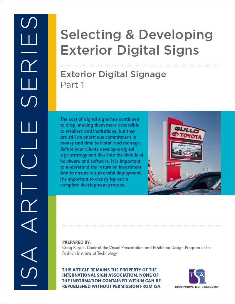 ISA Article Series: Selecting & Developing Exterior Digital Signs