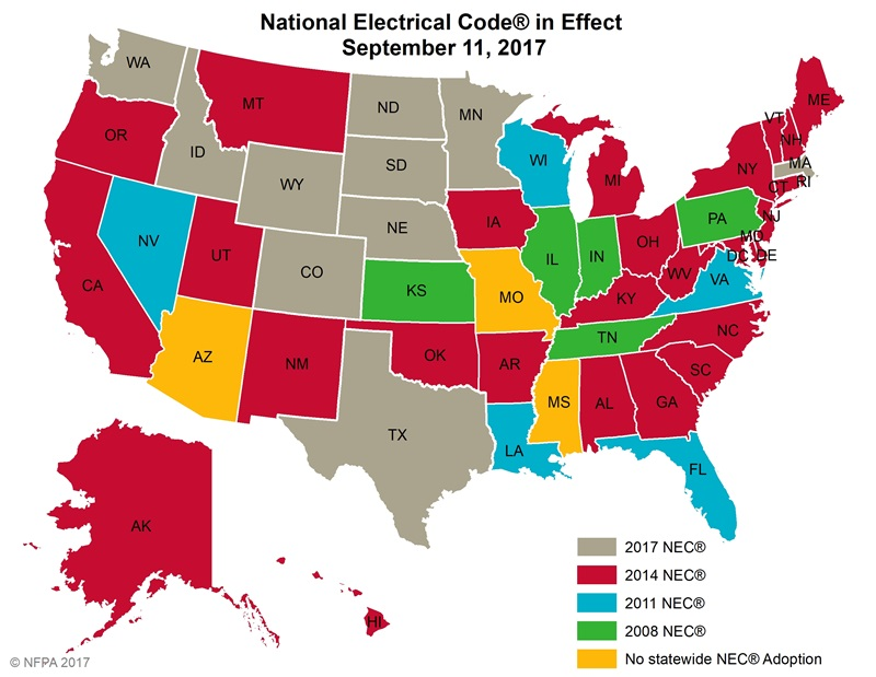 NEC In Effect Map 2017