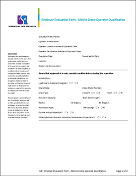 Isa Crane Evaluation Form Cover