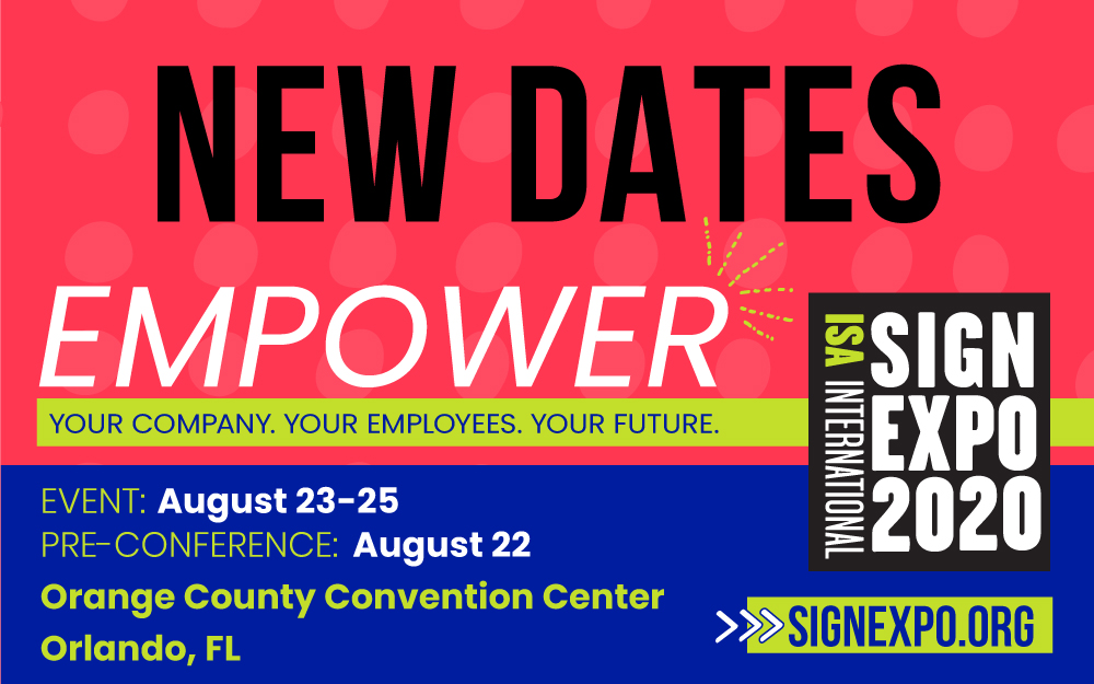 New Dates Graphic Isa Sign Expo 2020